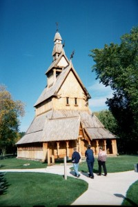 Some Lutherans Approaching A Stave Church
