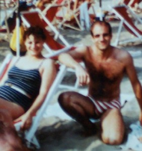 Lido di Camiore, 1984: My sister Gina; and me in the bathing suit that's NOT returning to Italy.