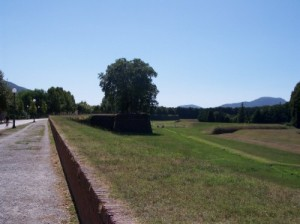 The path atop the walls